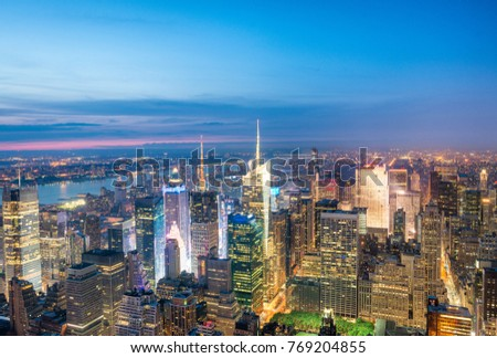 Night aerial view of Midtown skyscrapers. #769204855