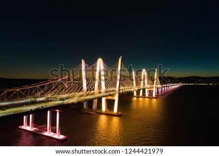 Night aerial view of new Tappan Zee bridge Stockfoto ©