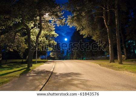 Night alley - stock photo