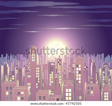 night at retro citysee vector