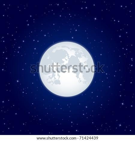 Night background, Moon and shining Stars on dark blue sky, illustration
