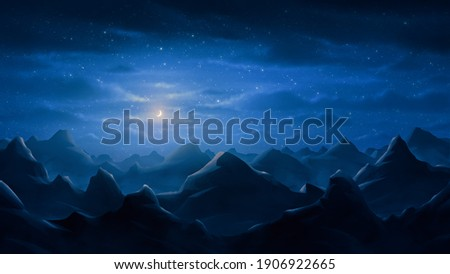 Night background of rocky mountains that stretch to the horizon under the moonlight. Fantasy landscape. Digital painting illustration Stockfoto ©