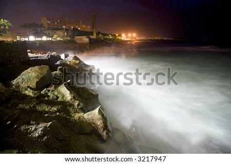 Night beach with rocks in Brazil
