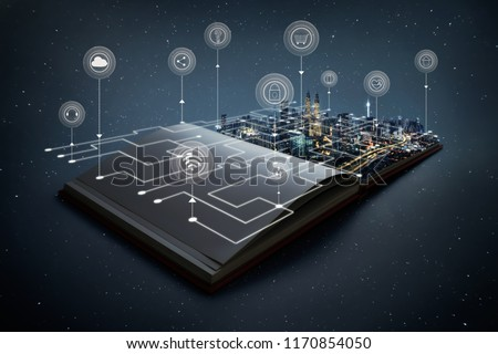 Night beautiful scene of modern city skyline pop up in the open book pages with smart home controlled wireless connections iot automation system .