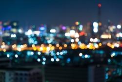 Night bokeh light in big city, abstract blur defocused background.