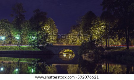 Night Bridge on the lake from passing cars on it. Against the background of the night sky blue trees. Russia #592076621