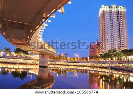 Night Bridge - the bridge like a dragon in Kaohsiung, Taiwan