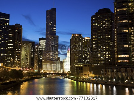 Night by the river - Chicago, IL.