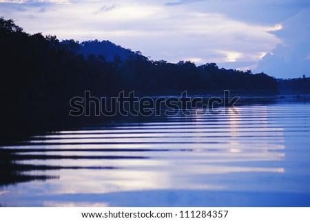 Night by the river, Sakau Kinabatangan river, Borneo, Malaysia