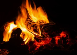 Night campfire. The flame rises above the burning logs.