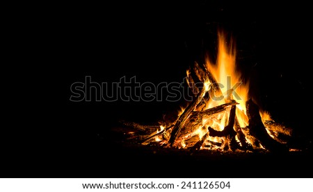 Night campfire with available space at left side.