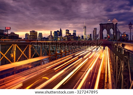 Stock Photo Night car traffic on Brooklyn Bridge in New York City