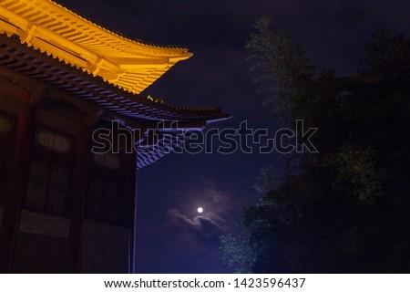 Night chinese architecture. March 21, 2019. Yalong Bay Sanya Hainan China