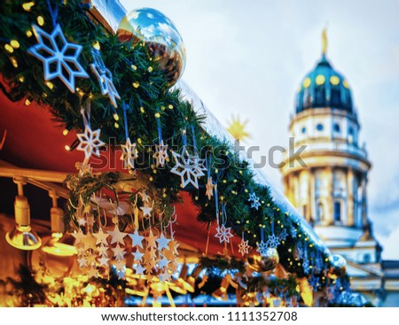 Night Christmas Market in Gendarmenmarkt at Winter Berlin, Germany. Advent Fair Decoration and Stalls with Crafts Items on the Bazaar. #1111352708