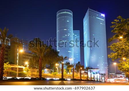 Night city, Azrieli center, Israel Stock fotó ©