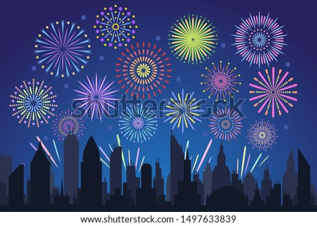 Night city fireworks. Holiday feast celebration firework, celebrated festive firecracker over town new year, carnival or independence day celebrate silhouette background