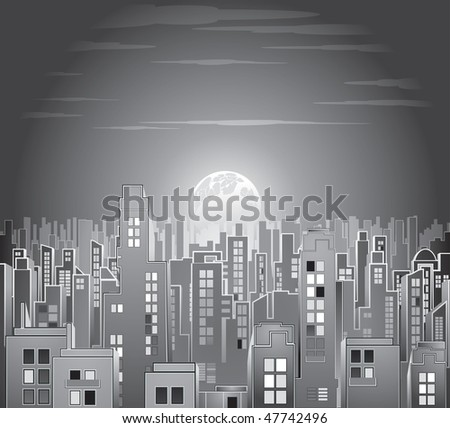 night city in black and white