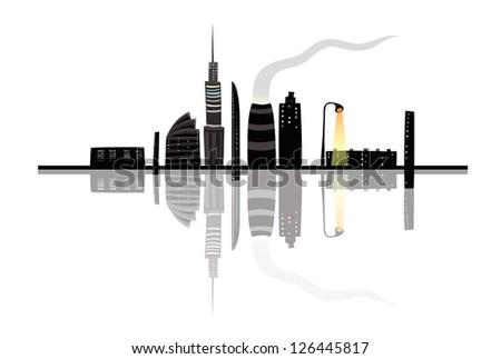 Night City Landscape Reflection Cartoon