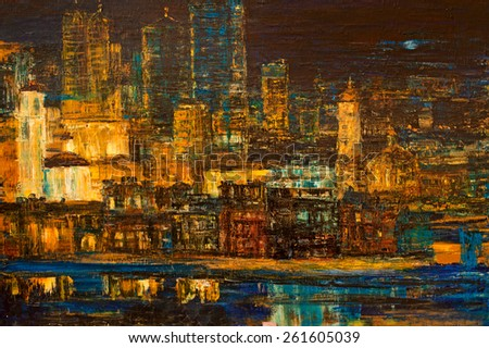 Night city,oil painting,wallpaper,background