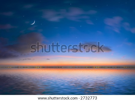 Night city on a background of the sky and ocean