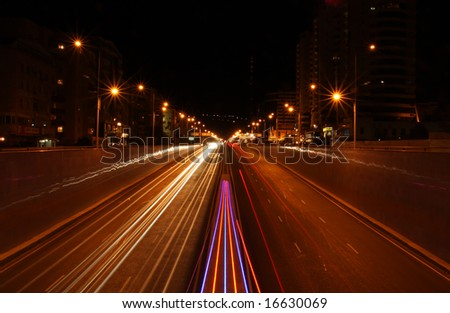 Night city road lights, cars, buildings, highway, traffic