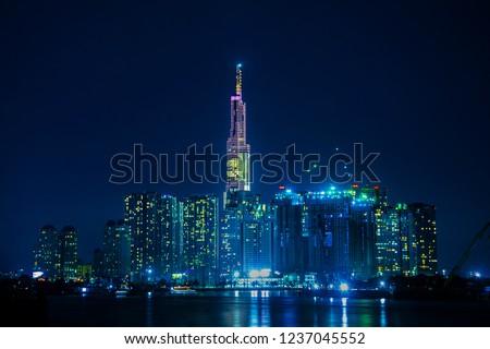 Night City scape in Ho Chi Minh city,Viet Nam,Landmark view #1237045552