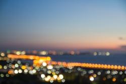 Night city street lights bokeh background