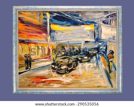 Night city traffic lights. modern painting, palette knife, oil on canvas