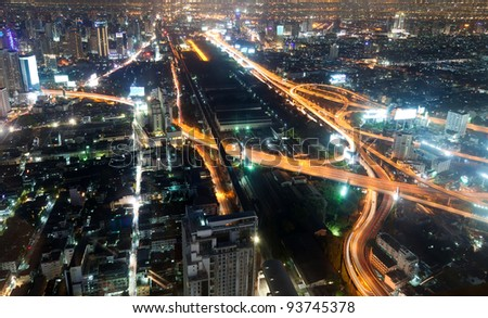 Night city view from the Baiyoke hotel observation deck - stock photo