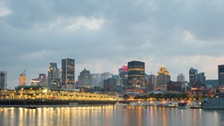 Night City View of the old port of Montreal, Montreal, Quebec, Canada