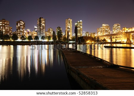 Night City view of West End Vancouver, British Columbia