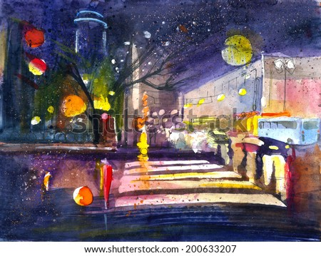 Night city view with skyscrapers and lights watercolor painting illustration colored poster