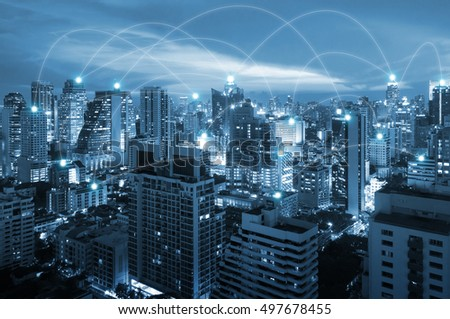 Night cityscape and internet network connection for communication , business and technology concept #497678455