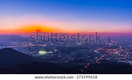 Night cityscape and Seoul cityscape. #373599658