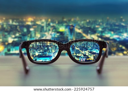 night cityscape focused in...