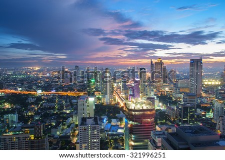 Night cityscape in middle of thailand