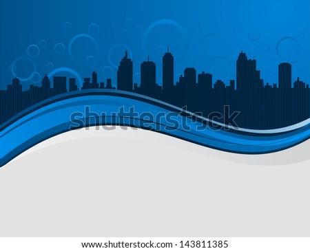 night cityscape wave background
