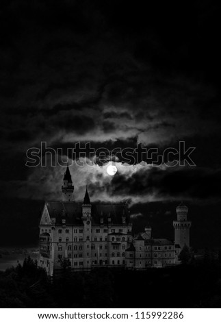 Night cloudy landscape, Castle and moon