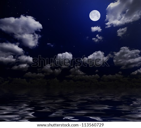 Night cloudy sky with moon