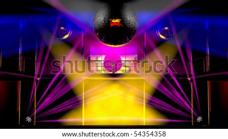 Night club interior with colorful spot lights, lasers and shining mirror disco balls artistic light show