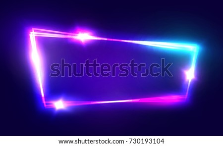 Night Club Neon Sign. Blank 3d Retro Light Signboard With Shining Neon Effect. Techno Frame With Glowing On Dark Blue Backdrop. Electric Street Banner Design. Colorful Raster Illustration in 80s Style