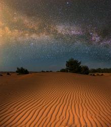 night desert under starry sky