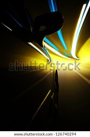 Night driving-Dramatic motion blur tunnel light