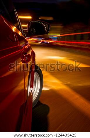 Night driving-motion blur street light.