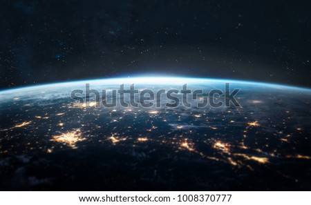Night Earth. City lights on planet. Civilization. Focus on center of the shot. Elements of this image furnished by NASA #1008370777