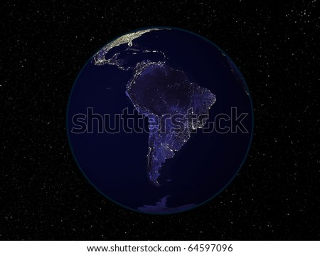 Night Earth view from space with city lights. Focus on South America. Digitally combined from a collection of satellite-based observations.