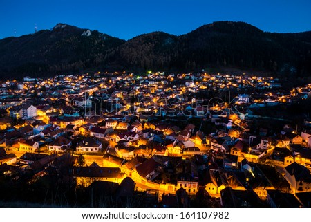 Night exposure over old part of Brasov called Schei