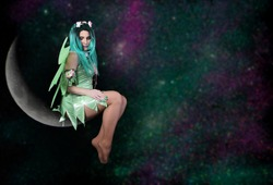 Night Fairy on Moon With Galaxy Background
