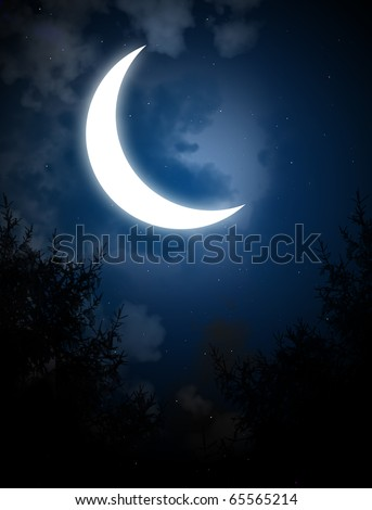 Night fairy tale - bright moon in the night sky