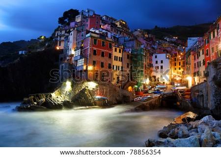 Night falling over Riomaggiore, Cinque Terre, Italy